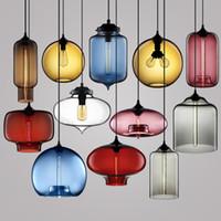 Wholesale Brown Glass Knobs - Modern Pendant lamps Art glass chandelier Ceiling Lamp Pendant Lights Glass Lampshade Loft Pendant Lamps E27 85V-265V Lighting Fixture