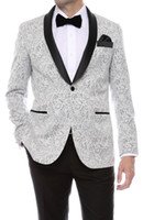 Wholesale Mens Double Breasted Vests - Gramercy Mens Silver Tapestry Super Slim Fit Groom Tuxedos 2018 Side Groomsmen Mens Wedding Prom Suits Custom Made (Jacket+Pants+Tie+Vest)