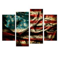 Wholesale American Flag Art - 4 Panles Retro American Flag Canvas Painting Wall Art Flag Paintings Printed on Canvas For Home Hotel Wall Decor with Framed