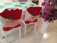 Wholesale Christmas Chair Covers Wholesale - 2015 New Christmas Kitchen Chair Covers Santa Claus Christmas Decoration Dinner Chair Decor Free Shipping Adornos navidad Party Decoration