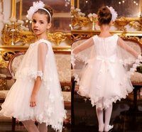 Wholesale White Shawls For Girls - Gorgeous White Flower Girls Dresses For Wedding Girls Pageant Gowns With Lace Shawl Knee Length A Line Girls Birthday Party Dresses