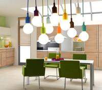 Wholesale E27 Light Socket Cord - MJJC Modern Vivid Colorful E27 Silicone Ceiling Lamp Holder Light Socket 1M Length Cord For Home DIY Hanging Pendant Lighting 85-265V