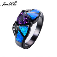 Wholesale Vintage Gold Fire Opal Ring - JUNXIN Female Purple Triangle Ring Black Gold Blue Fire Opal Ring Vintage Wedding Rings For Women Bague Femme