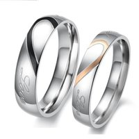 Wholesale Half Heart Stainless Steel - Fashion 316L Stainless Steel Silver Half Heart Circle Real Love Couple Wedding Rings For Women Jewelry R054 B7