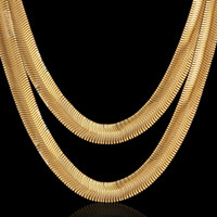 Classic Mens Colares Gold Color 60cm 8mm Snake Chain 18k Real Gold Plated Brass Hip Hop Jóias para homens N0830137