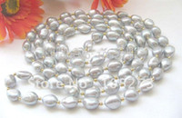 Wholesale Beautiful Pearl Jewellery Necklaces - Wholesale-Beautiful ! 58inchs AA 4MM-16MM Gray Color Baroque Freshwater Pearl Necklace Fashion Women's Jewellery Free Shipping FN1790