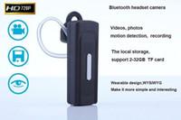bluetooth mini kaydedici toptan satış-Bluetooth kulaklık Kamera HD 720 P Bluetooth kulaklık kamera Hareket Algılama video kaydedici taşınabilir mini kamera DVR DV