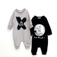 Wholesale Girls Sleep Rompers - 2 Design Children NO SLEEP Children Long sleeve rompers 2015 new cartoon boy girl Pure cotton Long sleeve baby clothes B001
