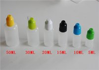 Wholesale Drop Bottle Needle - Colorful Needle bottle 5ml 10ml 15ml 20ml Soft Dropper bottles with CHILD Proof Caps Store most liquid E Vapor Cig Liquid Eye drops E Liquid