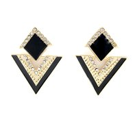 Wholesale Fanhua Jewelry Beautiful Enamel Rhinestone Triangle Earrings