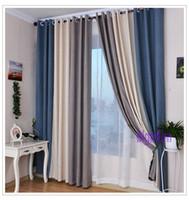 cortinas grises amarillas al por mayor-Estilo de verano cortinas de lino para sala de estar Cortina opaca + tul blanco rojo beige azul gris sólido cortinas Patchwork ventana de ajuste
