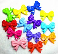 Wholesale Chunky Beads Mix - Wholesale-46x36mm 60pcs lot Mixed Acrylic Bow Beads, Knot Beads Fit Chunky Necklace