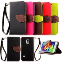 Wholesale Leather Clasps For Wallet - Wallet case leaf Clasp PU Leather Case for Samsung Galaxy I9600 S3 S4 S5 S6 Edge Plus Mini with Stand & 2 Card Slot Wallet case Cover