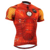 Band silicone gros-802 Iron Man Court Graphic Cycling Jersey W / anti-dérapant utiles 3 arrière-poches VTT Vélo Vêtements Vélo