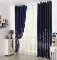Wholesale curtains for children - Hot Sale! Eco-friendly Printed Curtains For Kids   Children   Boys   Girls  Princess Customized Ready Made Blackout Curtain+Tulle Navy Blue