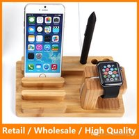 Wholesale Platform Brackets - 2015 Newest Stand for iPhone6 6 Plus Apple Watch Charging Platform Station 2 in 1 Wood Bracket Docking Free shipping with Retail Packing