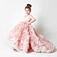 Wholesale cute lace skirts - 2017 New Cute Hi-lo Blush Pink Girl's Pageant Dresses Lace Flowers Puffy Ruffles Organza Skirt Wedding Flower Girls' Ball Gowns BO3897