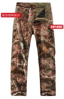 Wholesale Waterproof Camouflage Trousers - Tactical Winter TAD Waterproof SoftShell Camouflage Pants Outdoors Army Shark Skin Sports Thermal Waterproof Camo Fleece Trousers