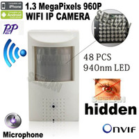 ip pir kamera toptan satış-960 P mini ip kamera wifi 940nm led Güvenlik Pir Ağ kamera Gece görüş PIR IR IP Kamera PIR Hareket Dedektörü 3.7mm Pinhole