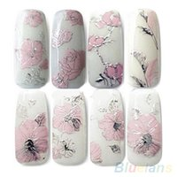 Wholesale Design Sticker Nail Art - 3D Nail Stickers Embossed Pink Flowers Design Nail Art Decal Tips Stickers Sheet Manicure 1ORG