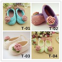 Wholesale free crocheted baby booties online - Baby Crochet Shoes Infant Snow Booties Kids Cute Handmade m Mix Colors Custom
