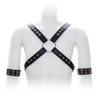 Wholesale Leather Outfits Sex - Male Bondage Punk Leather Adjustable Straps Chest Harness with Arm Rings Set Men's Metal Studs Fetish Top Sex Game Outfit