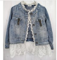Wholesale Cute Baby Coats For Girls - Wholesale 2015 Korean Denim Jacket For Girls With Lace Ruched 3 4 Sleeves Long Jeans Coat Spring autumn Sweet Baby Girl Cardigan