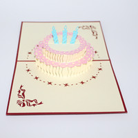 Wholesale handmade greeting cards for birthday - New 3d handmade birthday gift card for kids 3d lovely greeting card cute post card IC914