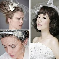Wholesale Wholesale Netting - 2015 New White Wedding Dress Bridal Headwear DIY Net Yarn Veil With Pearl Diamond Wedding Hair Accessories 6 styles in stock