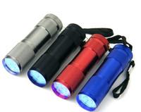 tragbare taschenlampen großhandel-Aluminium 9 LED Taschenlampe UV Ultra Violet Mini Tragbare Taschenlampe Licht Lampe Silber kostenloser versand