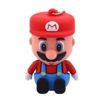 Wholesale Memory Flash Disc - 32GB Cartoon 3D Mario USB 2.0 Flash Memory Pen Drive Sticks Thumb Drives Disks Discs 32GB Pendrives Thumbdrives usb flash drive 100pcs