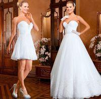 Wholesale Full Skirt Sweetheart Short Dress - 2018 Bling ball gown Overskirt Wedding dresses With detachable skirt train crystals bead top white tulle full length long bridal gowns