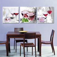 arte de la pared lienzo vino panel al por mayor-3 Unidades Envío Gratis Pared Moderna Pintura Al Óleo Abstracta Copa de Vino Tinto de cristal Cocina Pared Art Imagen Pintura En Lona impresiones