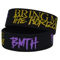 50pcs / lotto 1 '' Wide Band Ink Filled Braccialetto di colore BMTH Bring Me The Horizon Wristband in silicone