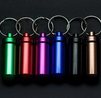 Wholesale Waterproof Pill Cases - 2017 Hot Waterproof Aluminum Medicine Pill Box Case Bottle Cache Holder Keychain Container Multicolor high quality free shipping