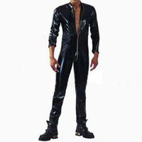 Wholesale man pvc bodysuit - Wholesale-Plus S-XXL Strong Men Black PVC Leather Latex Bodysuit Top PU Sexy Zentai Catsuit Gay Male Leotard Open Crotch Zippre Jumpsuit