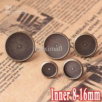 Wholesale Earring Tray Diy - WHOLESALE, 200pcs ANTIQUE BRONZE , Fashion Design Stud Earring with inner 8-16mm Round Blank base Tray , DIY earring findings