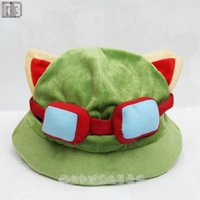 Wholesale Hat Lol - EMS Cosplay teemo hats 12 Inch League of Legends cute teemo Cartoon hats LOL soft stuffed hat high quality B001
