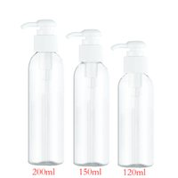 Wholesale Round Soap - 50pcs 120ml 150ml 200ml clear round lotion pump shampoo bottle containers for cosmetic packaging,amber PET bottle with liquid soap dispenser