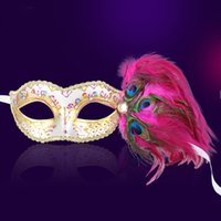 Peacock Feather Couleur Princesse Masque Demi-face Rhinestone Venice Masquerade Party Sexy Masque Festive Club Décoration Accessoires Cosplay 10pcs