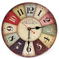 Wholesale Clocks European Vintage - Artistic Silent Retro Wall Clock European Style Round Colorful Vintage Saat Decorative Wooden Large Wall Clock Christmas Gift New +NB
