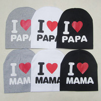 Wholesale I Love Mama Colors - Unisex Cotton Beanie Hat for New Born Cute Baby Boy Girl Soft Toddler Infant Cap i love mama i love papa 3 Colors