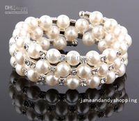 Wholesale Czech Crystal Beads Bracelet - 3 Row Pearl Fashion Wedding Czech Crystal Women bead cuff Ivory Bracelet H1