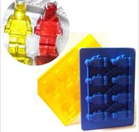 Wholesale Mini Silicon Mould - Lego Shaped Silicon Ice Cube Tray Mini Robot Figure Silicone Chocolate Cake Mold Tray free shipping