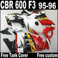 Wholesale F3 Body Fairings - Full fairing body kits for HONDA CBR600 F3 1995 1996 red white black fairings CBR 600 95 96 motobike set ZB36