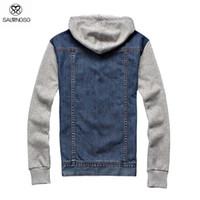 Wholesale Mens Denim Jackets Hoods - Fall-Denim Jacket Men With Hood Autumn Sport Jacket Mens Windbreaker Jackets And Coats Sleeve Spliced Outdoor Jacket Hooded Jaqueta