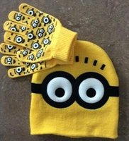 Wholesale Spiderman Embroidered - Fashion children kids Minions spiderman hat gloves set Despicable me hero cartoon winter warm soft cap gloves sports ski wear drop shipping