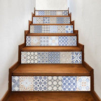 Wholesale Graphics Set - 6pcs set 18cm x 100cm Mixed Color Arabia Style Tile Stairs Decoration 3D Sticker Art Pegatinas De Pared Home Decor Mural LT033