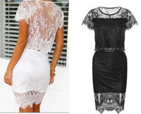 Wholesale Women S Two Piece Outfits - FG1509 Sexy Bub Petal Sleeve O-Neck Mini Polyester Summer Style 2 Piece Set Women Two Piece Outfits Lace Dress 2015 White Black S M L