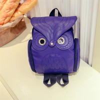 Wholesale Owl Leather Bag - 2017 small size new designer women backpacks owl pattern luxury leather pu school bags backpack cheap price